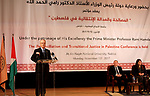 Palestinian Prime Minister, Rami Hmadallah, attends the opening of the conference on transitional Justice, tolerance and Human Rights, in the West Bank city of Nablus, on Nov 13, 2017. Photo by Prime Minister Office