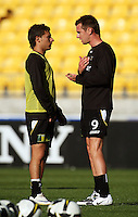 Shane Smeltz (right) talks to Costa Barbarouses before the match during the A-League match between Wellington Phoenix and Newcastle Jets at Westpac Stadium, Wellington, New Zealand on Sunday, 4 January 2009. Photo: Dave Lintott / lintottphoto.co.nz