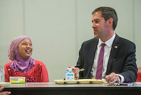 NWA Democrat-Gazette/ANTHONY REYES • @NWATONYR<br /> Rep. Greg Leding, talks with Rukaia Al-Rubaiee, 10, fifth grader at Owl Creek School, during lunch Thursday, Sept. 17, 2015 at the school in Fayetteville. Leding and other legislators toured four school in the Fayetteville district as part of the Legislators in the School initiative. Some legislators will also tour Bentonville and Springdale school on other days.