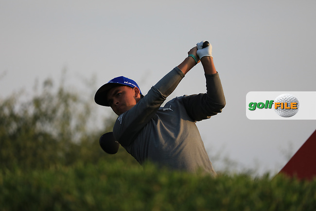 Rickie Fowler (USA) on the 11th tee during the 1st round of the Abu Dhabi HSBC Championship, Abu Dhabi Golf Club, Abu Dhabi,  United Arab Emirates. 19/01/2017<br /> Picture: Golffile | Fran Caffrey<br /> <br /> <br /> All photo usage must carry mandatory copyright credit (&copy; Golffile | Fran Caffrey)
