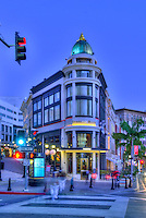 Via Rodeo, Two Rodeo, Beverly Hills; Rodeo Drive; Dusk, Night Lit , Vertical image