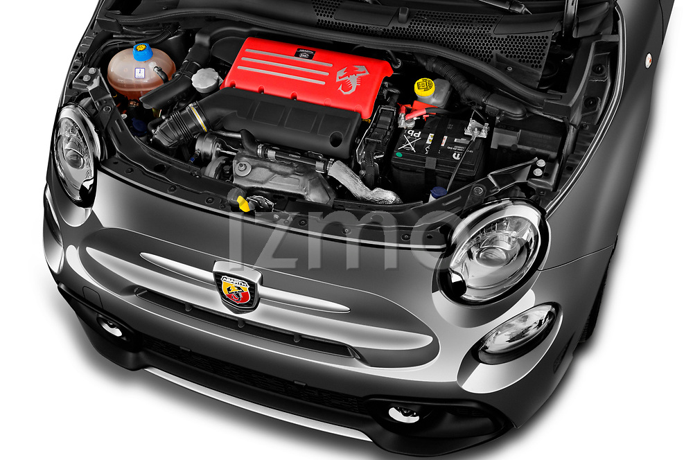 Car stock 2018 Abarth 595 Turismo Base 2 Door Convertible engine high angle detail view