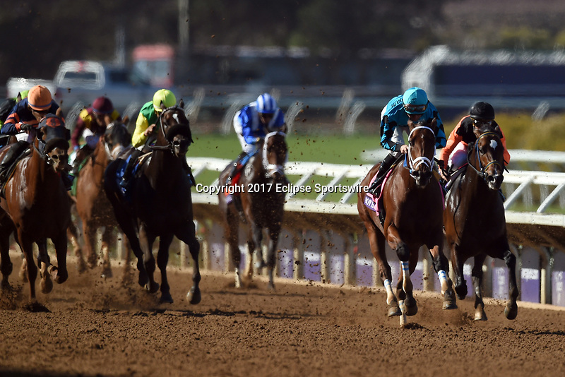 DEL MAR, CA - NOVEMBER 04: Roy H #8, ridden by Kent J. Desormeaux, pulls away during the TwinSpires Breeders' Cup Sprint race on Day 2 of the 2017 Breeders' Cup World Championships at Del Mar Racing Club on November 4, 2017 in Del Mar, California. (Photo by John Durr/Eclipse Sportswire/Breeders Cup)
