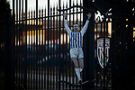 The Astle gates at the entrance to the stadium, pictured before West Bromwich Albion take on Leeds United in a SkyBet Championship fixture at the Hawthorns. Formed in 1878, the home team were relegated from the English Premier League the previous season and were aiming to close the gap on the visitors at the top of the table. Albion won the match 4-1 watched by a near-capacity crowd of 25,661.