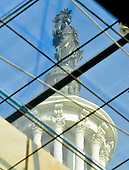 Statue of Freedom, which sits atop the dome of the United States Capitol, seen through the glass ceiling of the U.S. House side of the Capitol Visitors Center in Washington, D.C. on Tuesday, August 10, 2010..Credit: Ron Sachs / CNP