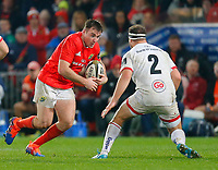 9th November 2019; Thomond Park, Limerick, Munster, Ireland; Guinness Pro 14 Rugby, Munster versus Ulster; Niall Scannell of Munster takes on Rob Herring (c) of Ulster - Editorial Use