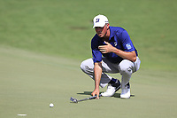 Matt Kuchar (USA) lines up his putt on the 18th green during Saturday's Round 3 of the 2017 PGA Championship held at Quail Hollow Golf Club, Charlotte, North Carolina, USA. 12th August 2017.<br /> Picture: Eoin Clarke | Golffile<br /> <br /> <br /> All photos usage must carry mandatory copyright credit (&copy; Golffile | Eoin Clarke)
