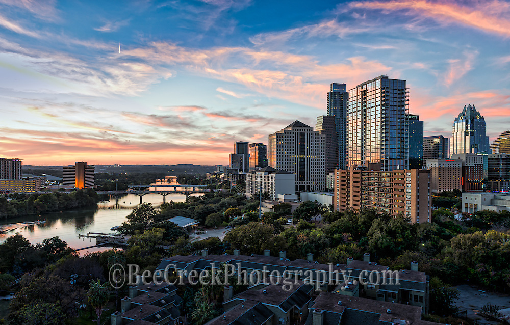 We capture this as we were at a photo shoot for a client and had to take a minute to capture this wonderful skyline image of Austin. You see down Lady Bird Lake to the Congress Bridge, 1st bridge and Lamar along with all the high rise buildings along the shoreline in downtown including the Frost, Austonian, and the Four Season Hotel. beecreekphoto.com, Tod Grubbs,