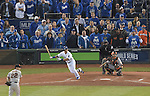 (L-R) Jake Peavy (Giants), Norichika Aoki (Royals), Buster Posey (Giants),<br /> OCTOBER 28, 2014 - MLB :<br /> Jake Peavy of the San Francisco Giants gives up an RBI single to Norichika Aoki of the Kansas City Royals in the bottom of the second inning during Game 6 of the 2014 Major League Baseball World Series at Kauffman Stadium in Kansas City, Missouri, United States. (Photo by AFLO)