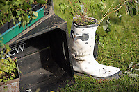 Pictured: A Wellington boot filled up with wild flowers Saturday 13 August 2016<br />Re: Grow Wild event at  Furnace to Flowers site in Ebbw Vale, Wales, UK