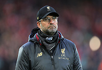Liverpool manager Jurgen Klopp watches on during the pre-match warm-up <br /> <br /> Photographer Rich Linley/CameraSport<br /> <br /> UEFA Champions League Semi-Final 2nd Leg - Liverpool v Barcelona - Tuesday May 7th 2019 - Anfield - Liverpool<br />  <br /> World Copyright © 2018 CameraSport. All rights reserved. 43 Linden Ave. Countesthorpe. Leicester. England. LE8 5PG - Tel: +44 (0) 116 277 4147 - admin@camerasport.com - www.camerasport.com
