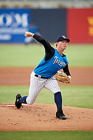 Tampa Tarpons starting pitcher Nick Nelson (27) delivers a pitch during the first game of a doubleheader against the Lakeland Flying Tigers on May 31, 2018 at George M. Steinbrenner Field in Tampa, Florida.  Tampa defeated Lakeland 3-0.  (Mike Janes/Four Seam Images)