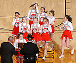 RAPID CITY, S.D.-- MARCH 21, 2015:  Cheerleaders from Lennox received the Spirit of Six award at the 2015 South Dakota State A Boys Basketball Tournament at the Don Barnett Arena in Rapid City, S.D.  (Photo by Dick Carlson/Inertia)