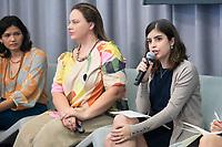 """Nova York (EUA), 23/09/2019 - Debate sobre as políticas ambientais do governo de Jair Bolsonaro -   deputada Tabata Amaral (PDT) durante painel """"As Políticas Ambientais de Bolsonaro e o Futuro da Floresta Amazônica"""" no Puck Building em Nova York nos Estados Unidos nesta segunda-feira, 23. (Foto: William Volcov/Brazil Photo Press/Agencia O Globo) Mundo"""