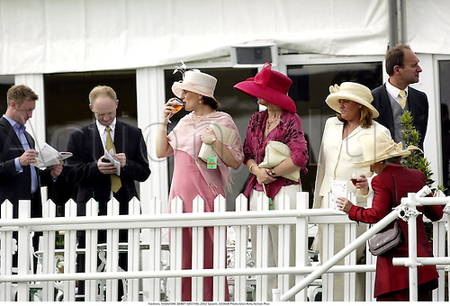 Fashion, VODAFONE DERBY MEETING 2002 Epsom, 020608 Photo:Glyn Kirk/Action Plus...Horse Racing.Flat.style racegoers racegoer crowd crowds