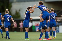 Seattle, Washington - Saturday, July 2nd, 2016: Seattle Reign FC forward Nahomi Kawasumi (36) celebrates her goal with Seattle Reign FC defender Kendall Fletcher (13) during a regular season National Women's Soccer League (NWSL) match between the Seattle Reign FC and the Boston Breakers at Memorial Stadium. Seattle won 2-0.