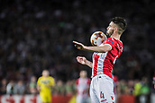 14th September 2017, Red Star Stadium, Belgrade, Serbia; UEFA Europa League Group stage, Red Star Belgrade versus BATE; Midfielder Damien Le Tallec of Red Star Belgrade brings down the ball on his chest