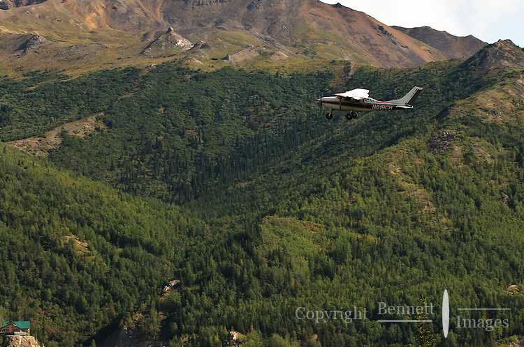 A flight-seeing tour takes off from the airstrip near the train station at Denali National Park.