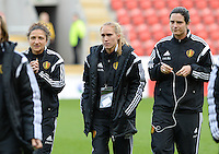 20160408 - ROTHERHAM , ENGLAND : Belgian Sara Yuceil (left)  pictured with Belgian Janice Cayman (middle) and Cecile De Gernier (right) during the female soccer game between England and The Belgian Red Flames - Belgium , the fourth game in the qualification for the European Championship in The Netherlands 2017  , Friday 8 th April 2016 at AESSEAL New York Stadium in Rotherham , England . PHOTO DAVID CATRY