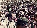 Iraq 1984 .At the Headquarter of jalal Talabani, 0in the foreground, left, Mohammed Khademi of Fedayin  Khalk, during the speech given by Jalal Talabani      .Irak 1984.Au quartier general de Jelal Talabani, devant a gauche, Mohammed Khademi pendant le discours de Jelal Talabani