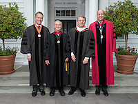 From left, Trustee Steven Olson, Elbridge Amos Stuart Professor of Economics Robby Moore, PIMCO Group Chief Investment Officer Daniel Ivascyn '91 and President Jonathan Veitch before Occidental College's 133rd Commencement on Sunday, May 17, 2015.<br /> (Photo by Marc Campos, Occidental College Photographer)