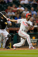 Philadelphia Phillies shortstop Jimmy Rollins #11 strikes out during the Major League Baseball game against the Houston Astros at Minute Maid Park in Houston, Texas on September 13, 2011. Houston defeated Philadelphia 5-2.  (Andrew Woolley/Four Seam Images)