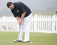 Chris Doak (SCO) gets some putting practice in with a very short putter at The Tshwane Open 2014 at the Els (Copperleaf) Golf Club, City of Tshwane, Pretoria, South Africa. Picture:  David Lloyd / www.golffile.ie