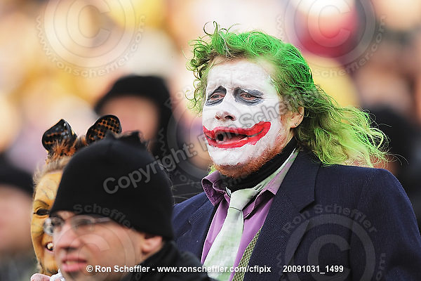 October 31, 2009; Hamilton, ON, CAN;  Hamilton Tiger-Cats fan dressed as the Joker from the Batman series on this Halloween day game. CFL football: Saskatchewan Roughriders vs. Hamilton Tiger-Cats at Ivor Wynne Stadium. The Tiger-Cats defeated the Roughriders 24-6. Mandatory Credit: Ron Scheffler. Copyright (c) 2009 Ron Scheffler.