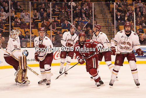 Thatcher Demko (BC - 30), Teddy Doherty (BC - 4), Zach Sanford (BC - 24), Kyle Criscuolo (Harvard - 11), Steve Santini (BC - 6), Scott Savage (BC - 2) - The Boston College Eagles defeated the Harvard University Crimson 3-2 in the opening round of the Beanpot on Monday, February 1, 2016, at TD Garden in Boston, Massachusetts.