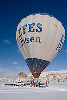Ballooning Over Frosty White Cappadocia, Turkey