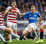 06.10.2019 Rangers v Hamilton: Scott Arfield with Markus Fjortoft and Blair Alston