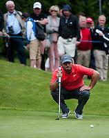 23.05.2015. Wentworth, England. BMW PGA Golf Championship. Round 3.  Francesco Molinari [ITA] lines up a putt on the 4th green, during the third round of the 2015 BMW PGA Championship from The West Course Wentworth Golf Club