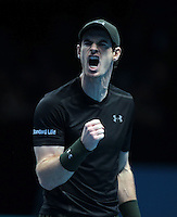 Andy Murray (GBR)(1) in action against Milos Raonic (CAN)(4)) in their John McEnroe Group Semi-Final match during Day Seven of the Barclays ATP World Tour Finals 2016 played at The O2 Arena, London on November 19th  2016