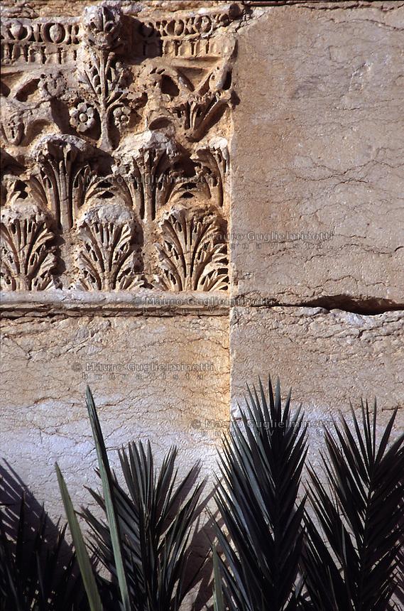 SIRIA - sito di Palmira(Tadmor) particolare di capitello con palme