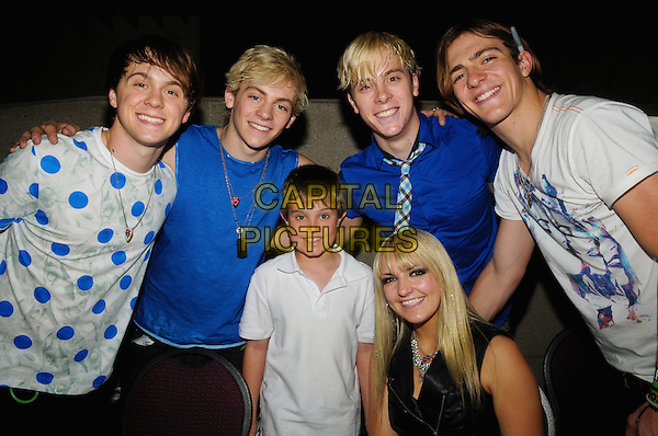 R5 (Ratliff Ellington, Ross Lynch, Riker Lynch, Rydel Lynch, and Rocky Lynch) & fan Ben.at fan meet and greet during the R5 Loud Tour held at Molson Canadian Studio at Hamilton Place, Hamilton, Ontario, Canada, .6th May 2013..half length group blue white music band family brothers sister sibling .CAP/ADM/BPC.©Brent Perniac/AdMedia/Capital Pictures