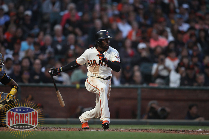 SAN FRANCISCO, CA - AUGUST 11:  Alen Hanson #19 of the San Francisco Giants bats against the Pittsburgh Pirates during the game at AT&T Park on Saturday, August 11, 2018 in San Francisco, California. (Photo by Brad Mangin)