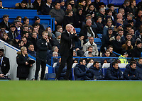 11th January 2020; Stamford Bridge, London, England; English Premier League Football, Chelsea versus Burnley; Burnley Manager Sean Dyche shouting at this players from the touchline  - Strictly Editorial Use Only. No use with unauthorized audio, video, data, fixture lists, club/league logos or 'live' services. Online in-match use limited to 120 images, no video emulation. No use in betting, games or single club/league/player publications