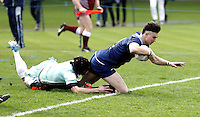 Jordan Ayling crashes over for his first try for Oxford during the Pcubed Rugby League Varsity game between Oxford and Cambridge University at the HAC Ground, London, on Fri March 3, 2017