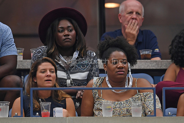 FLUSHING NY- SEPTEMBER 01: Danielle Brooks and Adrienne C. Moore are seen watching Andy Murray Vs Marcel Granollers on Arthur Ashe Stadium at the USTA Billie Jean King National Tennis Center on September 1, 2016 in Flushing Queens. Credit: mpi04/MediaPunch