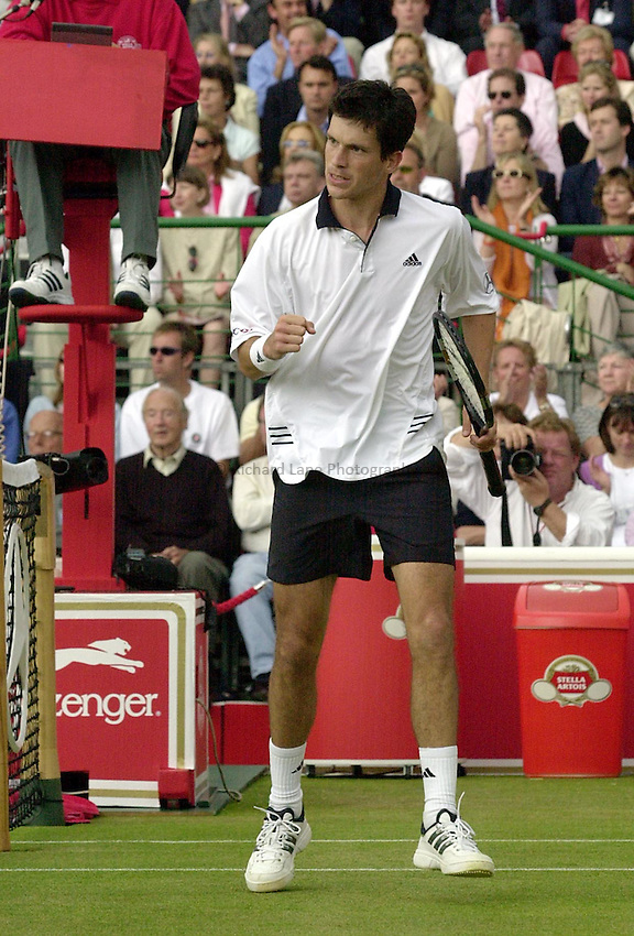 Photo:Ken Brown .11/06/2001. .Stella Artois Championship 2001 .Tim Henman celebrates his match point in his straight sets victory over Paradorn Srichaphan