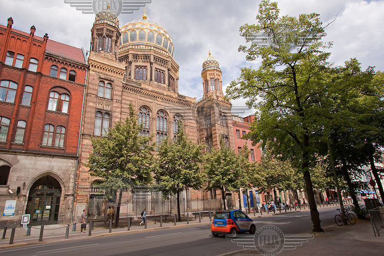 The restored facade of the New Synagogue which was once the religious centre for Berlin's Jewish community. It was gutted by fire during the infamous Nazi Kristallnacht in 1938 and the remaining shell was destroyed in an air raid in 1938. It now houses an exhibition on Jewish life in Berlin..