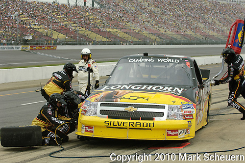 June 12 2010:  Ron Hornady Jr. pits during the NASCAR Camping World Truck Series VFW 200 race at Michigan International Speedway, Brooklyn, Michigan