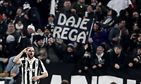 Football Soccer: UEFA Champions League Juventus vs Tottenahm Hotspurs FC, Allianz Stadium. Turin, Italy, February 13, 2018. <br /> Juventus' Gonzalo Higuain celebrates after scoring during the Uefa Champions League football soccer match between Juventus and Tottenahm Hotspurs FC  at Allianz Stadium in Turin, February 13, 2018.<br /> UPDATE IMAGES PRESS/Isabella Bonotto
