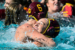 LOS ANGELES, CA - MAY 13: Maud Megens #6 and Brianna Daboub #11 of the University of Southern California embrace after winning the Division I Women's Water Polo Championship held at the Uytengsu Aquatics Center on the USC campus on May 13, 2018 in Los Angeles, California. USC defeated Stanford 5-4. (Photo by Tim Nwachukwu/NCAA Photos via Getty Images)