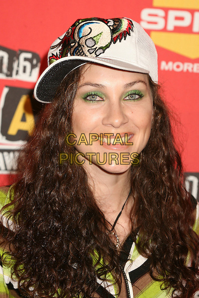 BONNIE MERCARDO.Spike TV's 2006 Video Game Awards at the Galen Center - Arrivals, Los Angeles, California, USA, 08 December 2006..portrait headshot green and black striped dress hat cap.CAP/ADM/BP.©Byron Purvis/Admedia/Capital Pictures