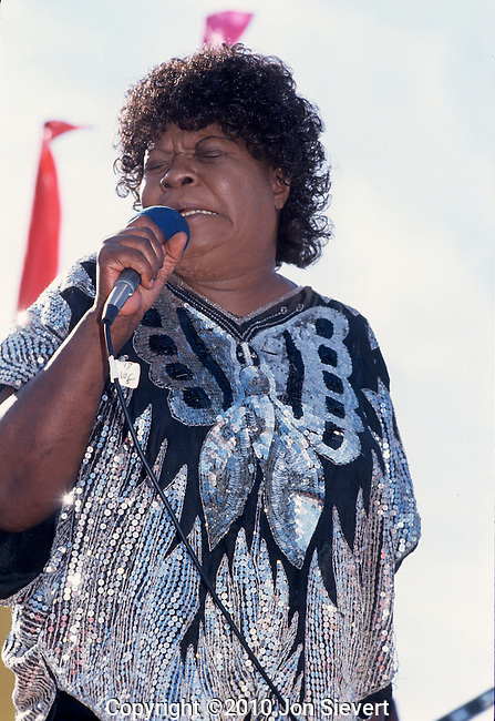 "Koko Taylor, Sept 1990, San Francisco Blues Festival. American blues musician, popularly known as the ""Queen of the Blues."" She was known primarily for her rough, powerful vocals and traditional blues stylings."