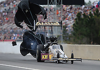 Mar. 10, 2012; Gainesville, FL, USA; NHRA top fuel dragster driver Khalid Albalooshi during qualifying for the Gatornationals at Auto Plus Raceway at Gainesville. Mandatory Credit: Mark J. Rebilas-