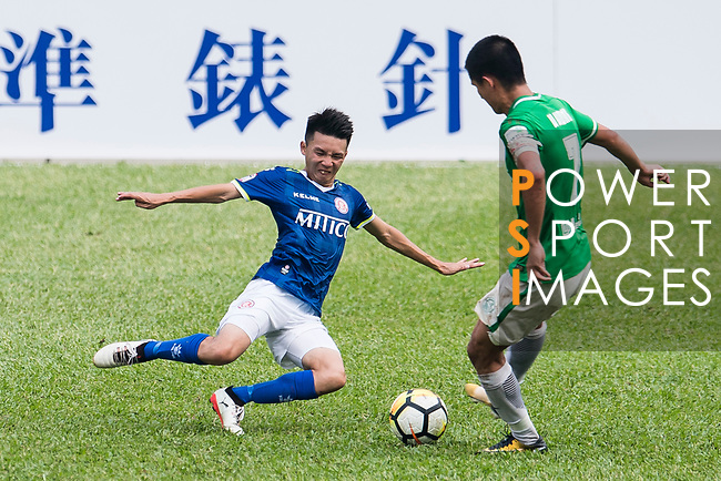 Lok Yin Lai of Rangers (L) fights for the ball with Wai Wong of Wofoo Tai Po (R) during the week three Premier League match between BC Rangers and Wofoo Tai Po at Sham Shui Po Sports Ground on September 17, 2017 in Hong Kong, China. Photo by Marcio Rodrigo Machado / Power Sport Images
