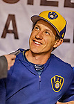 25 March 2019: Milwaukee Brewers Manager Craig Counsell chats with the media prior to an exhibition game against the Toronto Blue Jays at Olympic Stadium in Montreal, Quebec, Canada. The Brewers defeated the Blue Jays 10-5 in the first of two MLB pre-season games in the former home of the Montreal Expos. Mandatory Credit: Ed Wolfstein Photo *** RAW (NEF) Image File Available ***