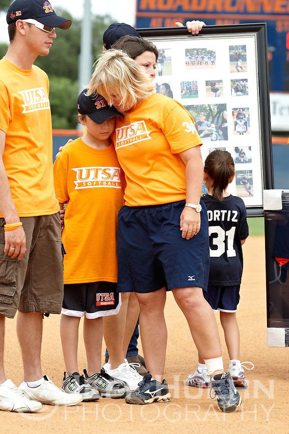 SAN ANTONIO, TX - APRIL 25, 2009: The University of Texas at San Antonio Roadrunner Softball team retires the jersey of former player #31 Hope Ortiz at Roadrunner Field. (Photo by Jeff Huehn)